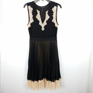 BCBG Maxazria Black Nude Lace Khloe Pleated Dress